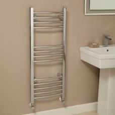 1000 x 400 Curved Chrome Towel Rail