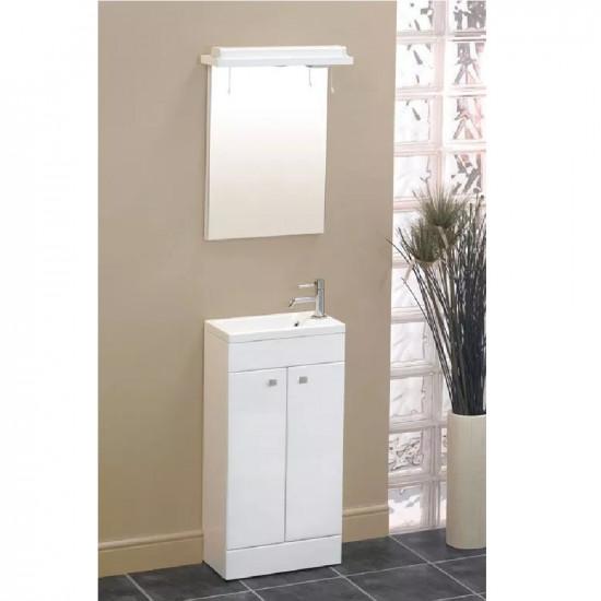 Eastbrook Oslo 2 Door Floor Standing Vanity Unit - 390mm Wide - High Gloss White