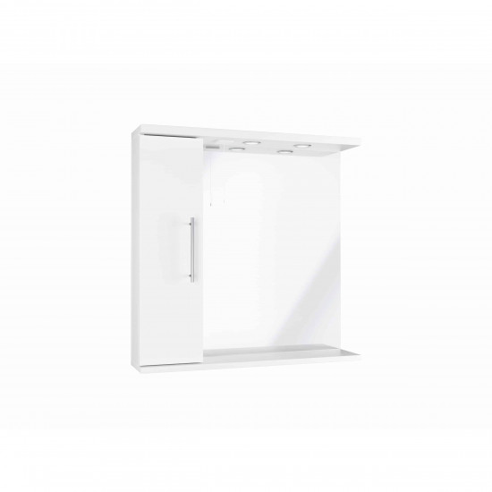 Scudo  Mirror with Side Cabinet and Lights - 750mm Wide - White Gloss