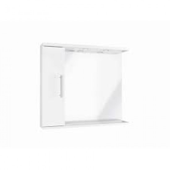Scudo  Mirror with Side Cabinet and Lights - 850mm Wide - White Gloss