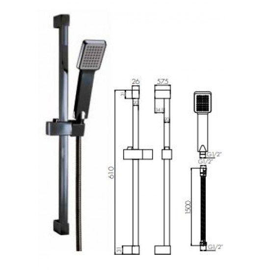 Scudo Square Riser Rail Kit With handset and flexible shower hose - Black